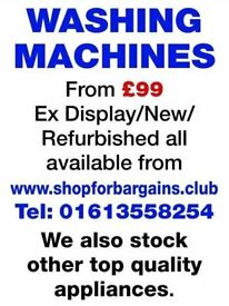 Refurbished Washing Machines from£99 with guarantee ask aboutour ex dsplay appliances