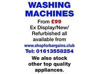 Refurbished Washing Machines from £99 wth guarantee
