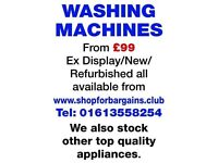 Prices startng from £99 for a selection of refurbished Washing Machines