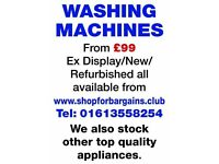 Washing Machines (refurbished) from £99 with guarantee
