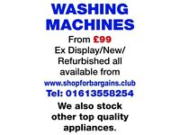 Refurbished Washing Machines for sale from £99 inc. warranty