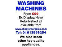 Reconditioned Washing Machines for sale from £99 inc. warranty