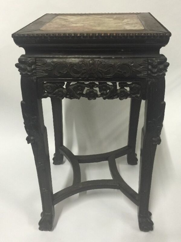 Antique Chinese Hardwood Carved Marble Inset Side table
