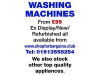 refurbished washing machines from £99 also new/ex-displayed appliances from shopforbargains
