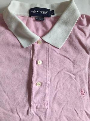 Contrast Collar Golf Polo Shirt (POLO GOLF RALPH LAUREN PINK CONTRAST COLLAR POLO SHIRT SIZE XL )