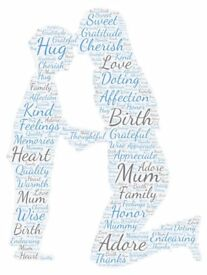 Personalised Mother's Day Word Art. A4 Print. Gift, Mother & Son