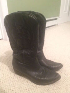 Leather Black Cowboy Boots (Cowgirl)