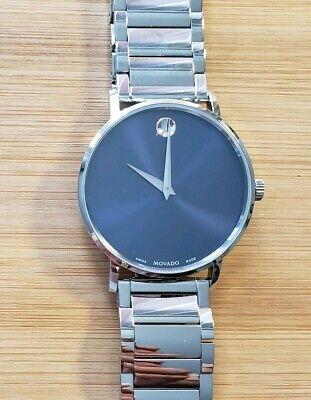 Movado Classic Museum 0607216 Watch With 40mm Smoke Blue Face & Silver Breclet