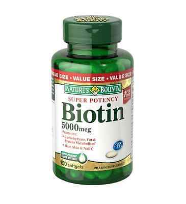 Nature's Bounty Biotin Softgels, 5000 mcg 150 ea