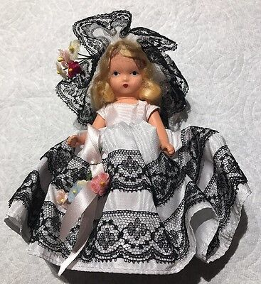 """Nancy Ann Story Book Doll 5-1/2""""  Jointed  Legs Alice Blue D-6"""