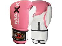 MAXX Pro Fight Leather Boxing Gloves Punch Bag Pink , 12oz