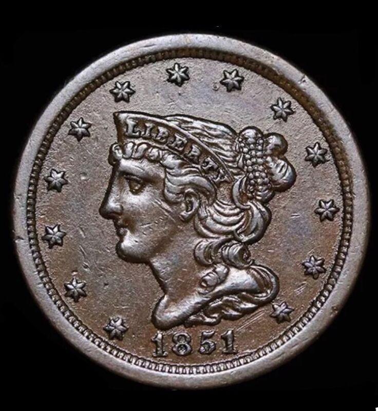 1851 Half Cent, Braided Hair, High Grade, Sale
