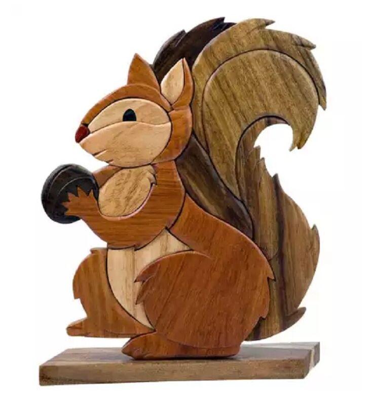 Squirrel Nut Intarsia Wood Table Top Home Decor Figurine Lodge New