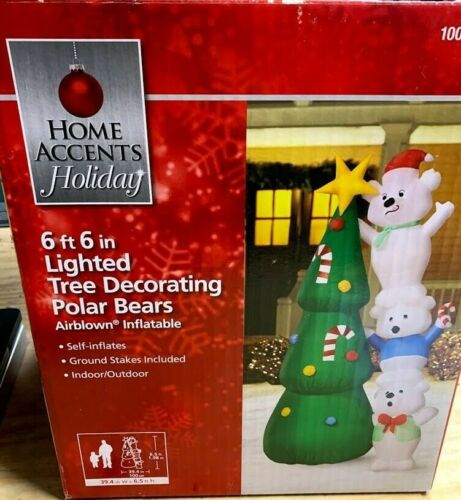 Home Accents 6 ft 6 in Lighted Tree Decorating Polar Bear Airblown Inflatable