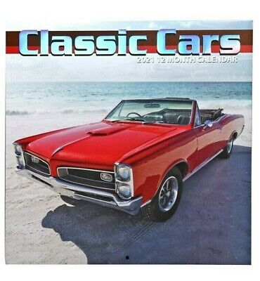 2021 Classic Cars 12 Month Wall Calendar Monthly Page Format New Sealed