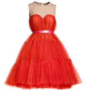 LANVIN-H-M-CHIC-RED-TULLE-SILK-COCKTAIL-PARTY-BALLGOWN-DRESS-XS-8-4-34-RARE-NEW