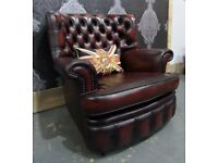 Fantastic Chesterfield Monk Back Arm Chair in Oxblood Leather 2 Available - UK Delivery