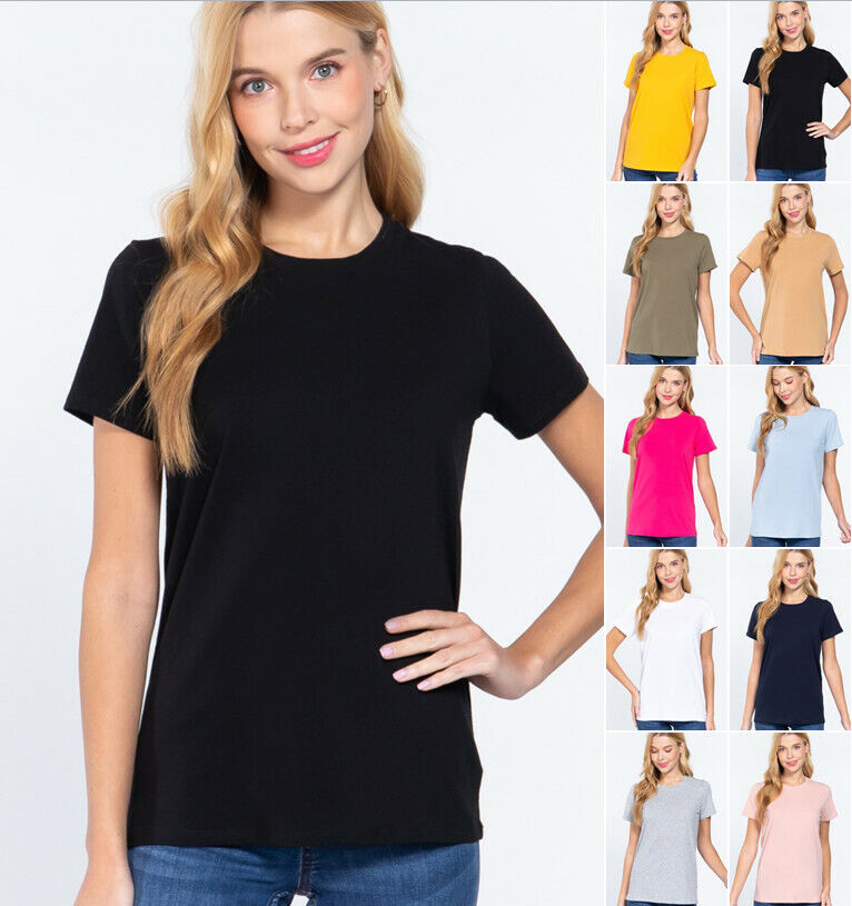 Women's Short Sleeve Crew Neck T Shirt Soft Cotton Jersey Top Clothing, Shoes & Accessories