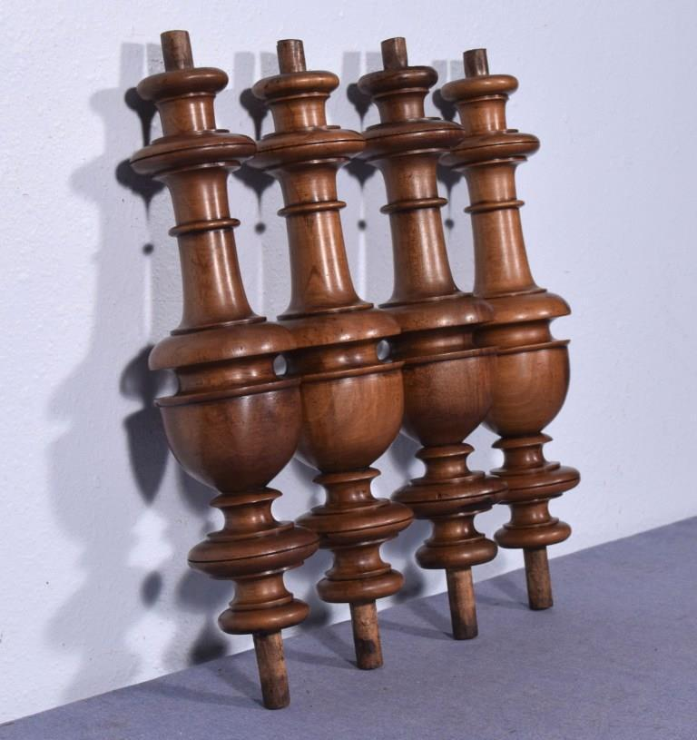 "14"" Set of 4 French Antique Solid Walnut Posts/Pillars/Columns/Balusters"