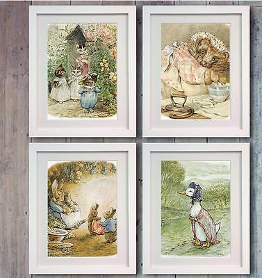 Beatrix Potter Peter Rabbit Set 4 Picture Print Photo Nursery Decor Wall Bedroom
