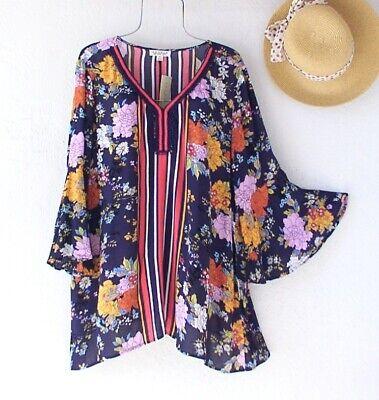 New~$79~Navy Blue Orange Lilac Floral Crochet Lace Blouse Boho Plus Size Top~1X