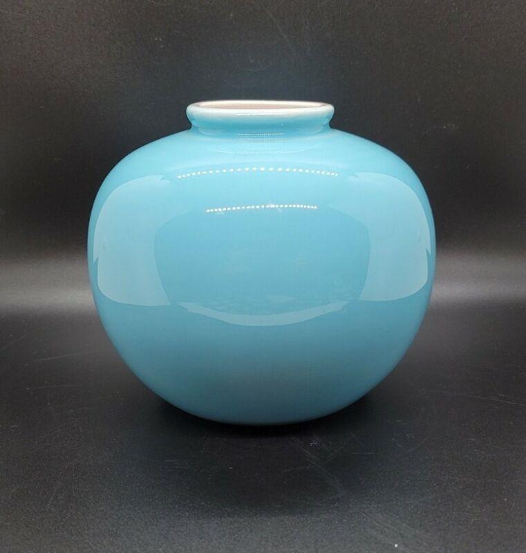 MK BO JIA Middle Kingdom Porcelain RoundVase Modernist Signed Art Decor Blue