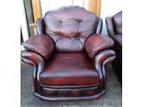 Fantastic Chesterfield Vintage High Back Chair Oxblood Red Leather - UK Delivery