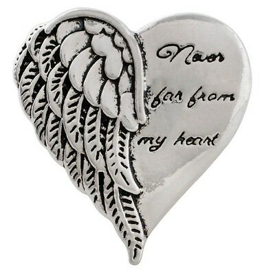 Silver Heart Wing Never Far From My Heart 20mm Snap Charm For Ginger Snaps