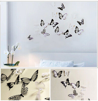 18pcs 3D Black/White Butterfly Crystal Decor Wall Stickers Decor Wall Decals h (Butterfly Nursery Decor)