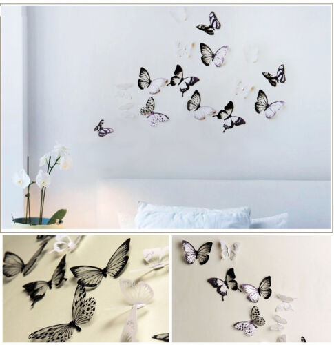 Home Decoration - 18pcs 3D Black/White Butterfly Crystal Decor Wall Stickers Decor Wall Decals h