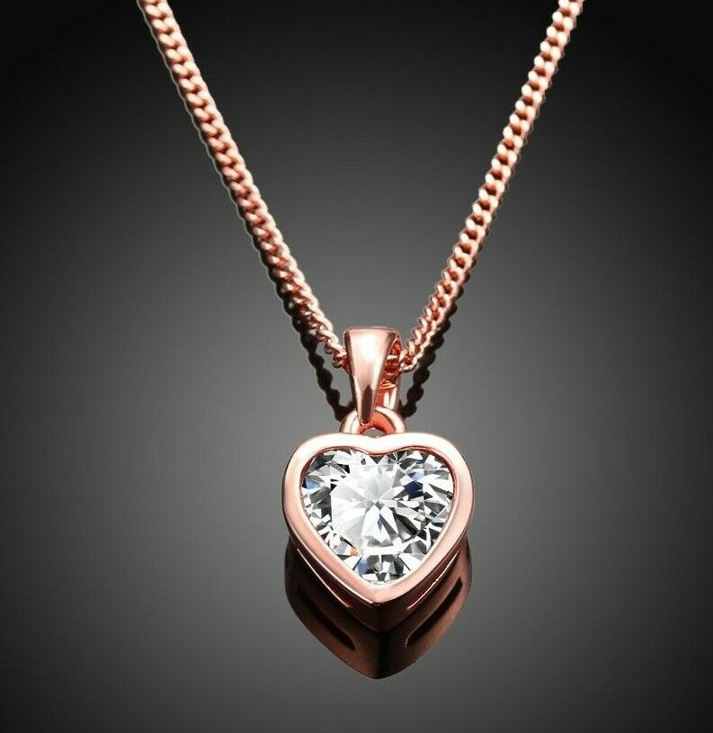 Women Rose Gold Plated Round White Love Heart Pendant Chain Necklace