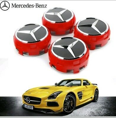 OEM MERCEDES AMG ALLOY WHEEL HUB CENTRE CAPS - RED/BLACK 75MM A B C E S ML CLASS for sale  Shipping to Ireland