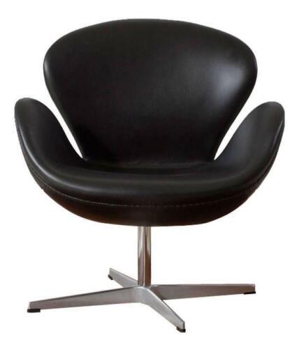 Bureaustoel Wit Leer Metalen Voet.Swan Chair Bekleding Leder Zwart Stoelen Marktplaats Nl