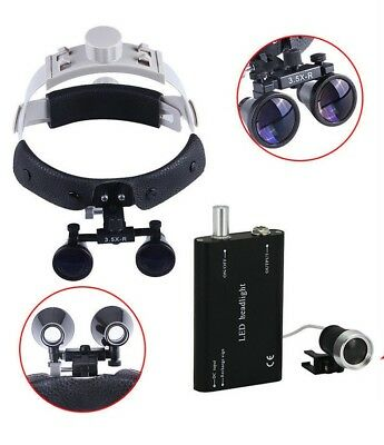 Dental Magnifier 3.5x Loupe Surgical Binocular Headband Glassled Headlight Lamp