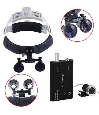 Dental Magnifier 3.5x Loupe Surgical Binocular Headband Glassled Headlight Lamp