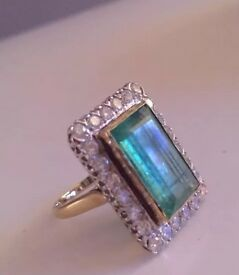 LARGE REAL DIAMOND & REAL EMERALD RING