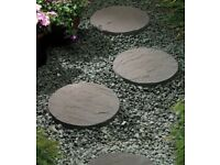 Charcoal Round Riven 450mm Garden Stepping Stones