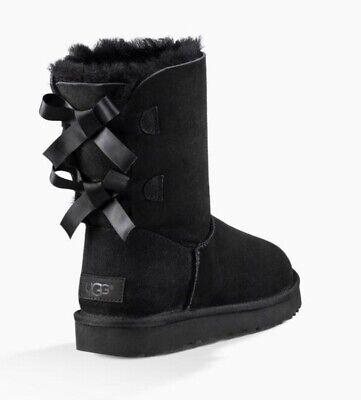 UGG Bailey Bow II Black Suede Shearling Boots 1016225 Womens Sz 8