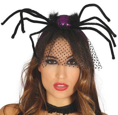 Halloween Spider VEIL Hat Fascinator Vampire Bride Fancy Dress Accessory - Halloween Spider Bride
