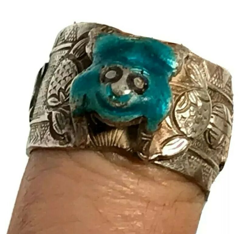 Antique Chinese Adjustable Enamel Frog Ring Chinese Characters Hallmarked Inside