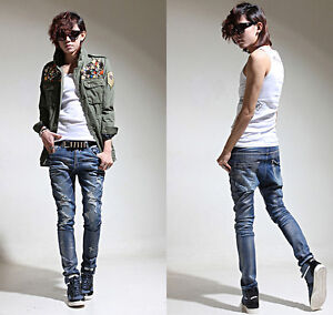 New-mens-slim-skinny-jeans-pearl-shinny-baggy-pants-hip-hop-denim-jean-sz-S-M-L