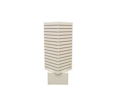 Revolving Slatwall Floor Display Rotating Cube Tower 4Sided Retail Fixture White