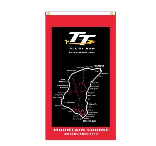 New 90x150cm Isle Of Man TT Map Flag Racing JDM Car Service Gift Drift Race