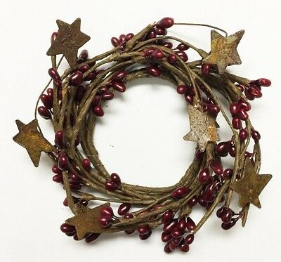 "Used, Candle Napkin Ring 2"" Pip Berry w/ Rusty Tin Stars - Burgundy for sale  Columbus"