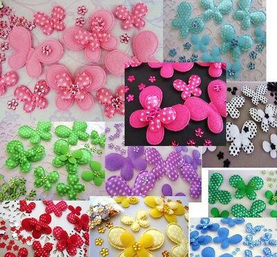 60+50 Felt/Satin Polka Dot Butterfly+Rhinestone Flower Jewel Applique (Dots Butterfly Appliques)