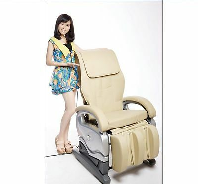 Electric Full Body Shiatsu PU Leather Massage Chair Recliner Chairs 8881 Beige