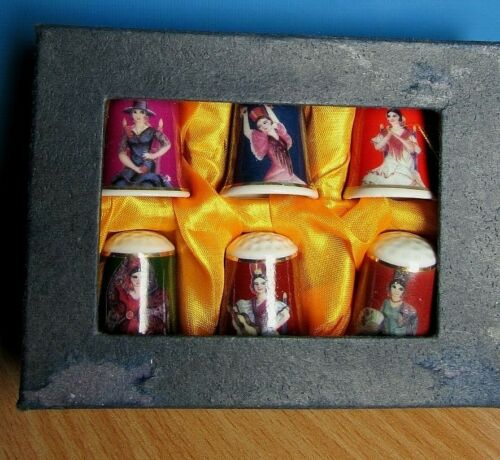 Set of 6 Vintage Thimbles Collectable 1937