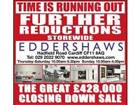 THE MASSIVE EDDERSHAWS CLOSING DOWN SALE - UP TO 70% DISCOUNTS ON STOCK REMAINING
