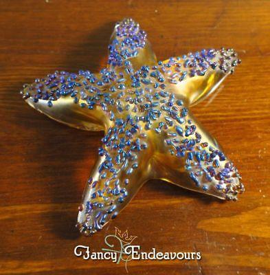 Amber Paperweight - Starfish Paperweight Opal Art Glass Iridescent Beads on Amber/Gold