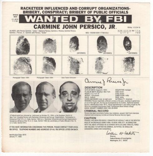 Mafia Boss Carmine Persico 1985 FBI Wanted Poster - Gangster - Colombo Family